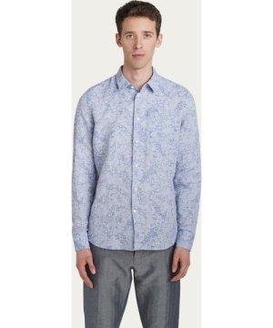 Feel Good Cotton Shirt in Blue Jacquard Flowers Print