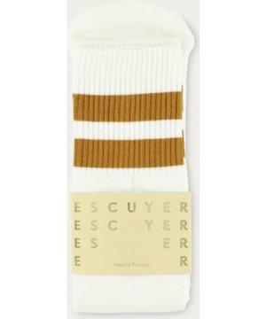 Off White / Golden Brown Unisex Tube Socks