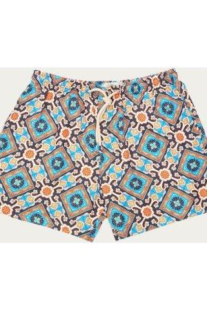 Orange and Blue Positano Micro Elastic Swim Short
