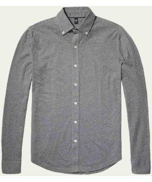Grey Fleming Jersey Button-Down Shirt