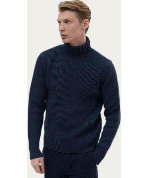 Navy Marle Wool Rib Rollneck