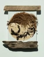Sea Moon -Found Materials on Canvas-9x12-Tessa D'Agostino