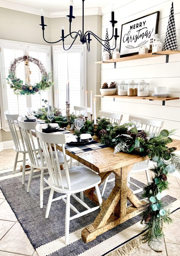 Neutral Christmas Table Setting and DIY Garland