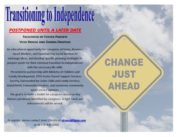 Transitioning to Independence workshop -postponed until a later date