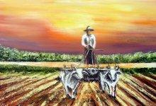 Retour des champs au soleil couchant ( Birmanie )