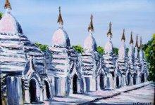 Coucher de soleil sur les stupas ( Birmanie )