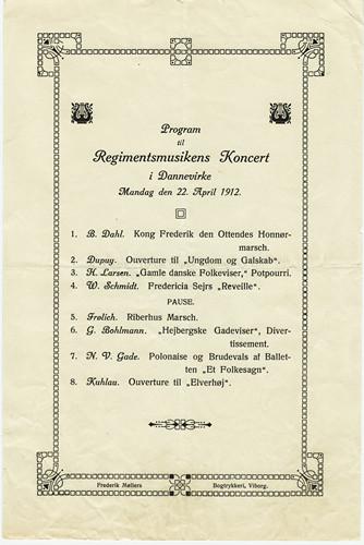 Koncertprogram fra 9. Regiments Musikkorps 1912. På trods af nedskæringerne, var ambitionsniveauet højt. Dette program har været spillet af maksimalt 10 messingblæsere og slagtøj.