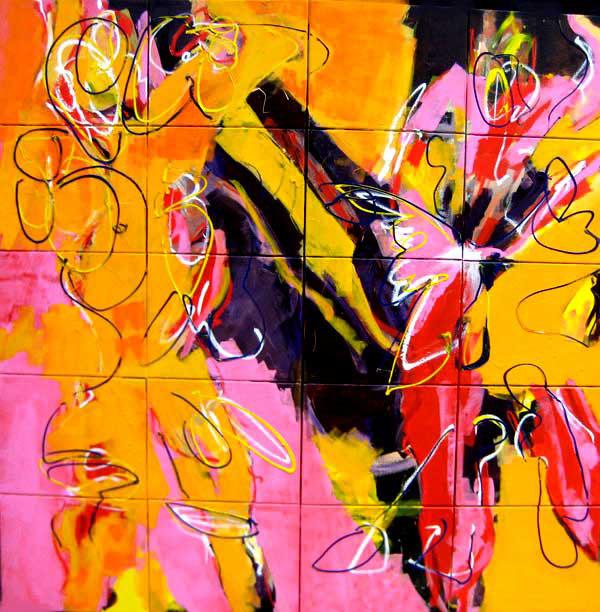 """Schilderij; """"Heb ik niet gedaan, olieverf op doek, Robert Pennekamp, 200 x 200 cm, 2008"""