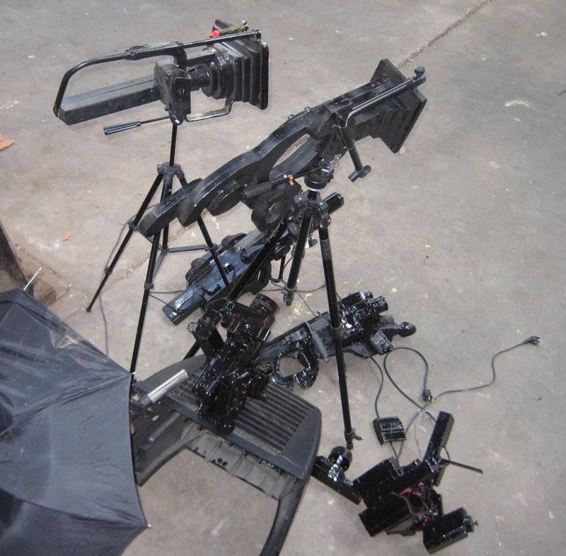 installatie van camera's, paraplu, tv, studio, tv station, Robert Pennekamp