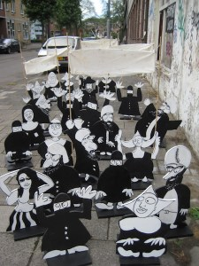demonstratie, anti, voor, amsterdam, strip, cartoon, spandoeken, anarchie, multicultureel, robert, pennekamp, straatbeeld, streetart, geloof