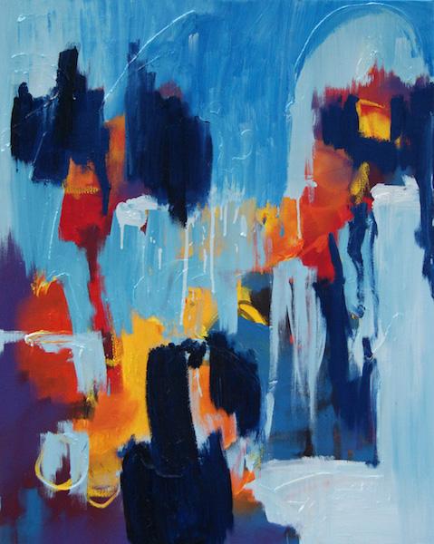 schilderij 656, als het dan toch kan, robert, pennekamp, abstract, expressief, schilderij, blauw, lichtblauw, donkerblauw, olieverf, serie, mooi, geweldig