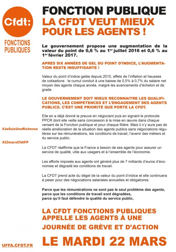 22 mars CFDT Fonctions Publiques (UFFA-CFDT) - tract