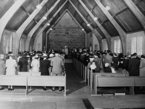 First service in new church building