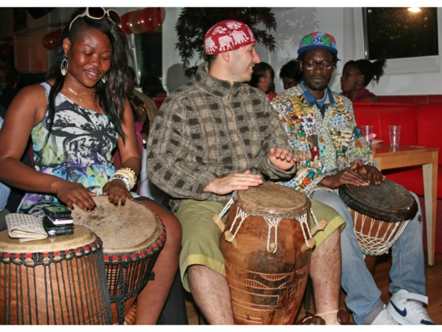 Drumming at an SWVG party