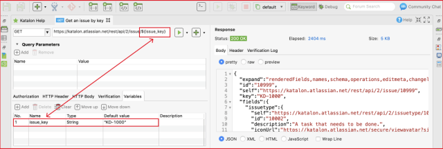 restful web services - Variables API Testing Katalon Studio