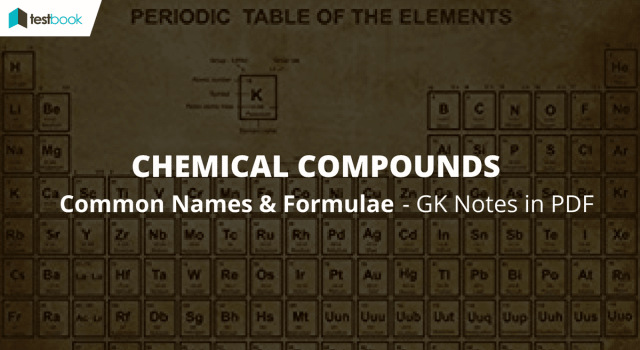 Common Names Of Chemical Compounds And Formula Ssc Gk Notes