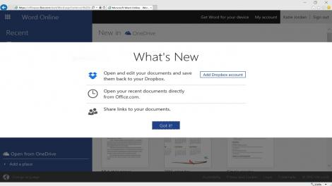 Office now integrates with Dropbox on the web