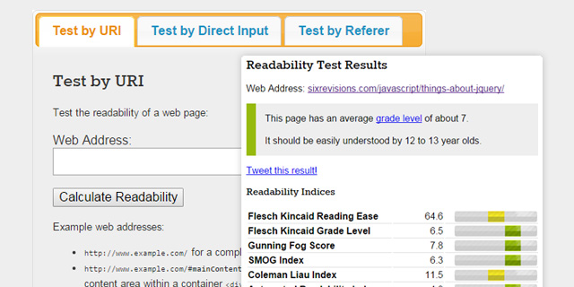 The Readability Test Tool