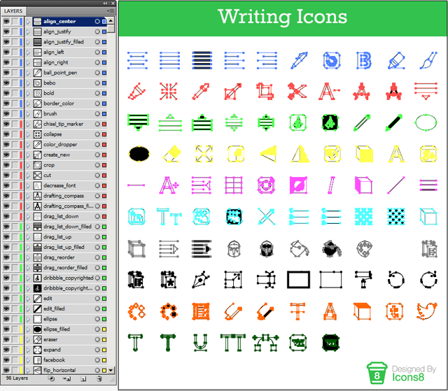 The editable source files of the icons are well-organized.