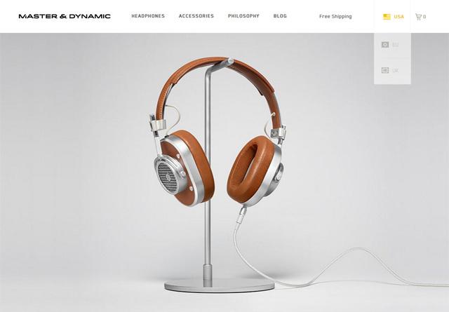 Screenshot of a clean website: Master & Dynamic