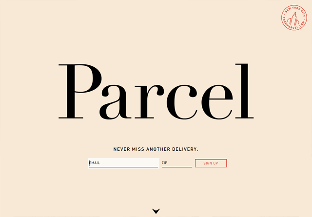 Screenshot of a clean website: Parcel