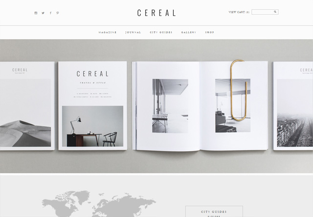 Screenshot of a clean website: Cereal