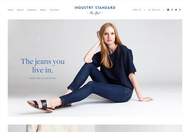 Screenshot of a clean website: Industry Standard