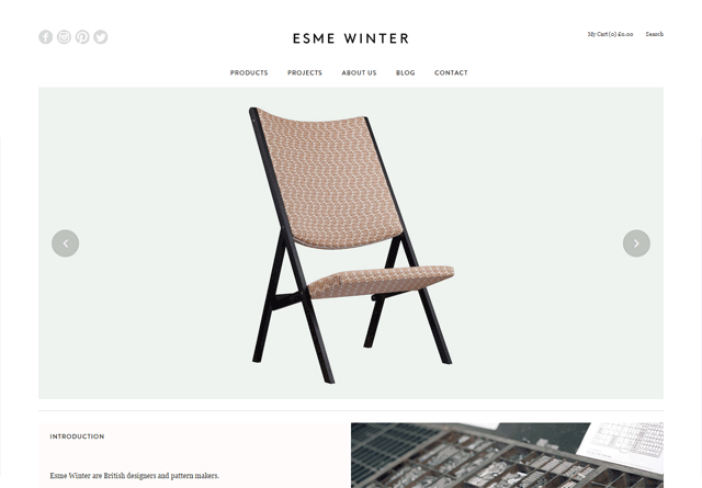 Screenshot of a clean website: Esme Winter