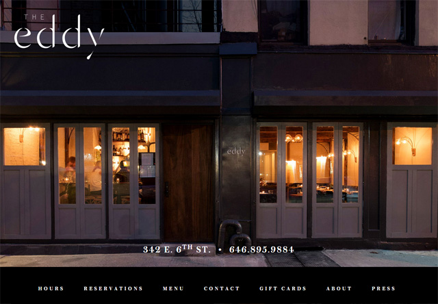 Image of a restaurant website: The Eddy NYC