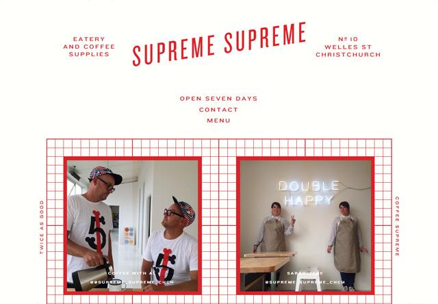 Image of a restaurant website: Supreme Supreme
