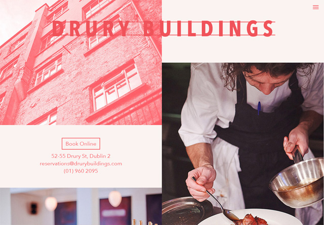 Image of a restaurant website: Drury Buildings