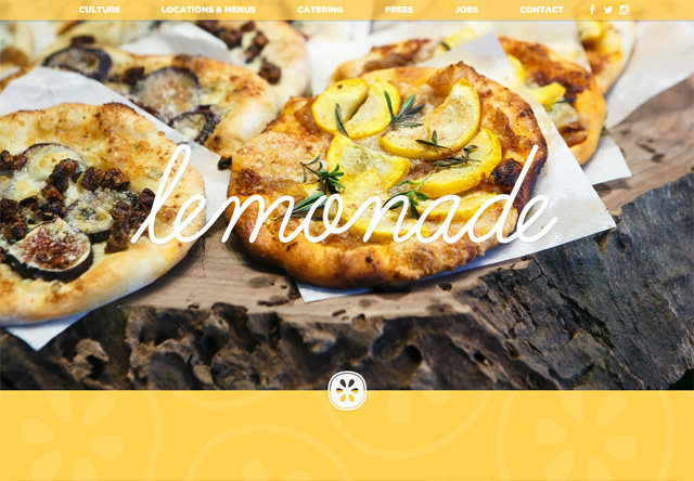 Image of a restaurant website: Lemonade
