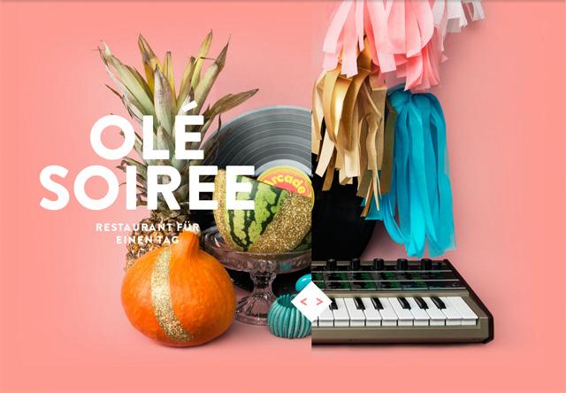 Image of a restaurant website: OLÉ SOIREE
