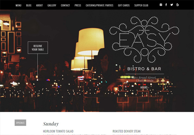Image of a restaurant website: easybistro.com