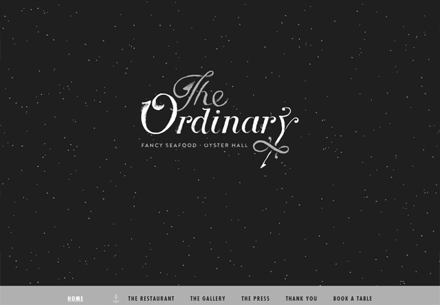 Image of a restaurant website: The Ordinary