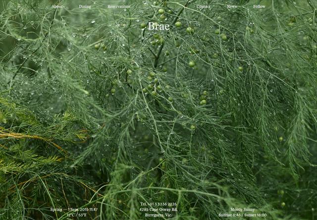 Image of a restaurant website: Brae