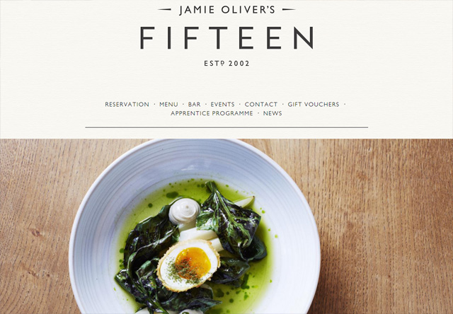 Image of a restaurant website: Fifteen