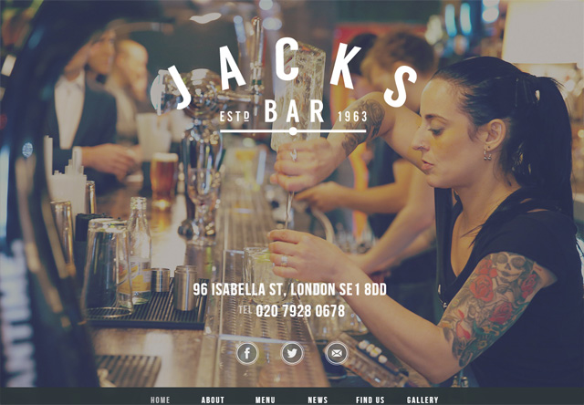 Image of a restaurant website: Jacks Bar