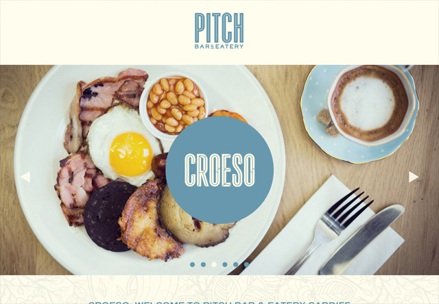 Image of a restaurant website: Pitch