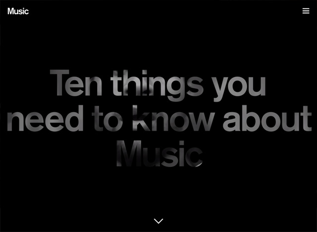 One-page website: Music