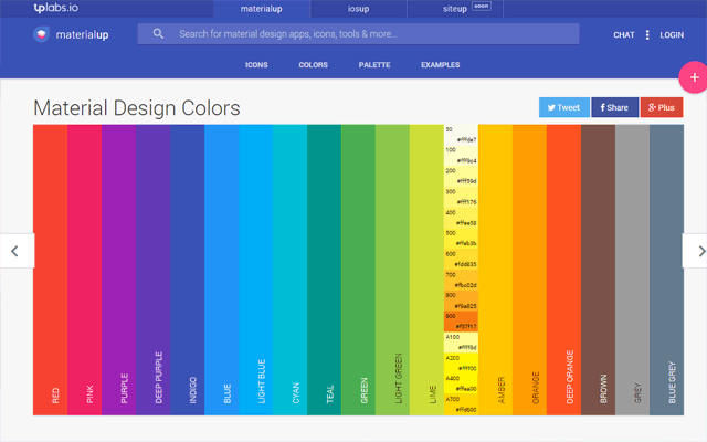 MaterialUp's Material Design Colors