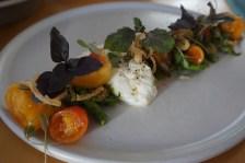 tomato, green beans, burrata