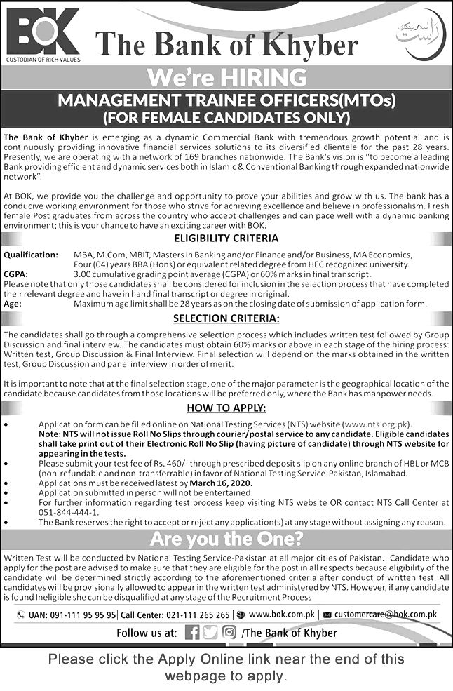 The Bank of Khyber Jobs 2020 NTS Test Eligibility Criteria Last Date