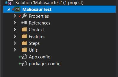 specflow automatyzacja testowanie maila - struktura katalogów