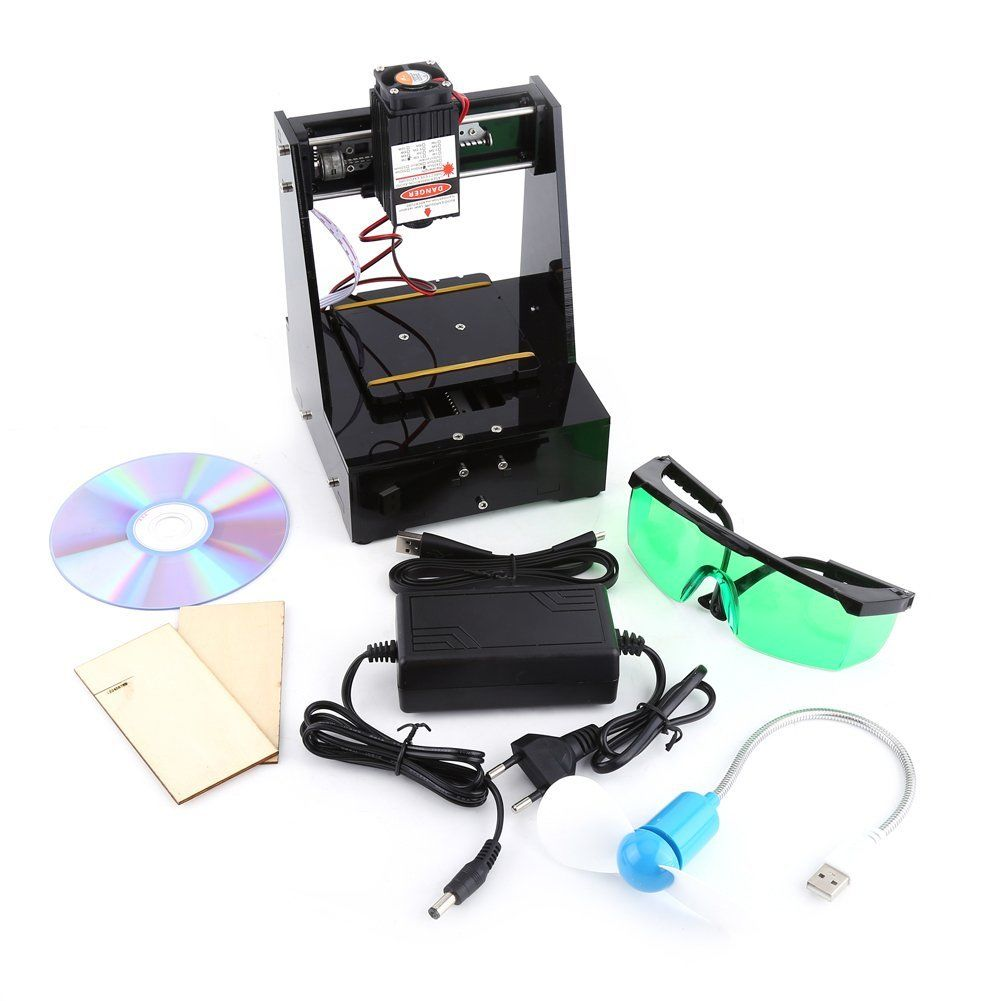 2000MW Mini Graveur Machine à Gravure Laser DIY CNC USB 7×7cm Lumière Bleu avec Lunettes de Protection 100-240V Outil de Gravure pour Win7, Win8, Win10, XP package