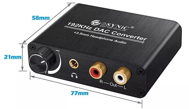 eSynic 192kHz DAC Convertisseur Numérique vers Analogique