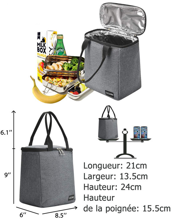 Teamy Sac Isotherme Repas Portable Hommes Femmes Enfants Pourpre Sac de Transport Repas