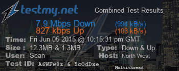 North West Electronics speed test 11:18pm, 5th June 2015, 7.9Mbps down, 827kbps up
