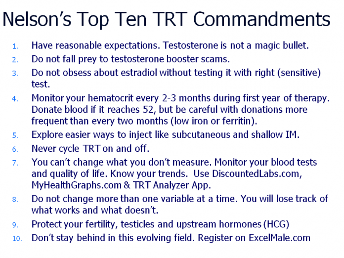 Nelsons Top Ten TRT Commandments