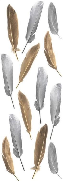 Légère et douce créez une déco féérique avec ces jolies plumes cuivrées et argetées collées sur une nappe foncée
